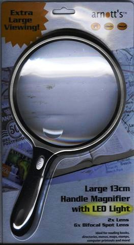 Image for 13cm Circular Magnifier with LED Light 2X Magnification 6X Spot Lens