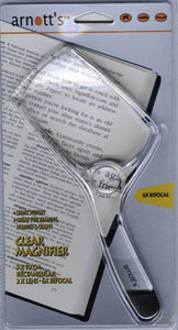 Image for 9cm x 5.5cm Rectangular Magnifier with clear handle 2X Magnification 6X Spot Lens