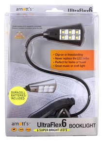 Image for UltraFlex6 Six Super LED Booklight - Black Colour (uses 3 AAA Batteries included)