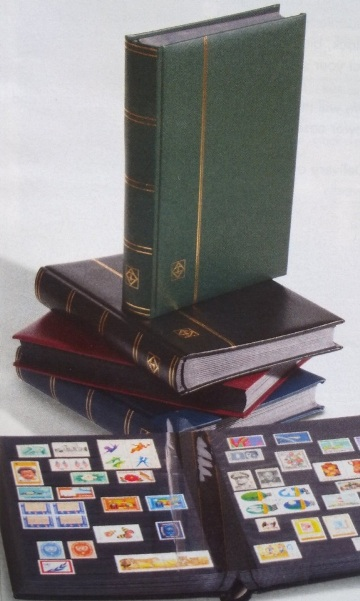 Image for Stamp Album: A4 Premium Stockbook 32 Black Pages - Green Padded Leatherette Cover