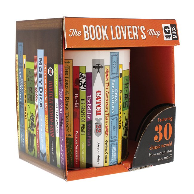 Image for The Book Lover's Mug: Featuring 30 classic novels! How many have you read? *** Temporarily Out of Stock ***