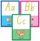 Image for Alphabet Wall Cards - NSW - New South Wales - A to Z Cards - Includes 26 Photocopiable Handwriting Practice Sheets - Upper and Lower case letters