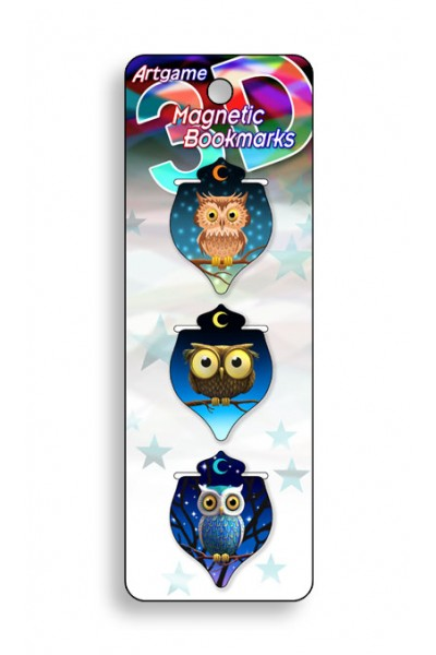 Image for Owls 3D Magnetic Bookmark 3 pack