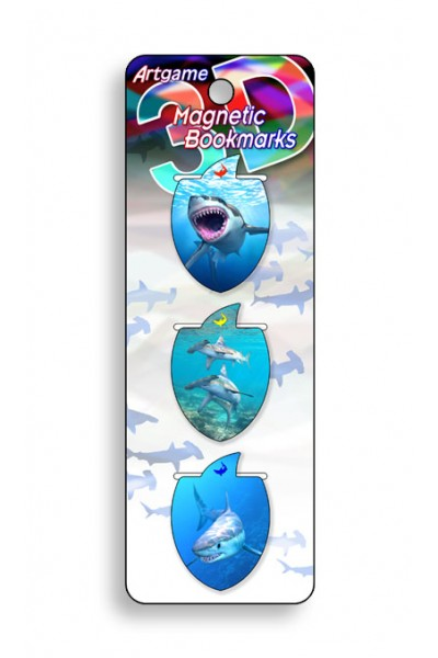 Image for Sharks 3D Magnetic Bookmark 3 pack