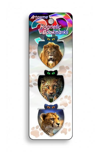 Image for African Cats 3D Magnetic Bookmark 3 pack