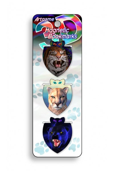 Image for Big Cats 3D Magnetic Bookmark 3 pack