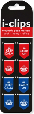Image for Keep Calm and Carry On I-Clips Magnetic Page Markers 8 pack # Bookmark