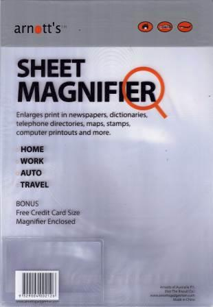 Image for Sheet Magnifier with bonus Credit Card Size Magnifier