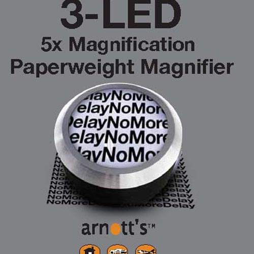 Image for The 5x Paperweight Magnifier with 3 LED Lights - Blue Base