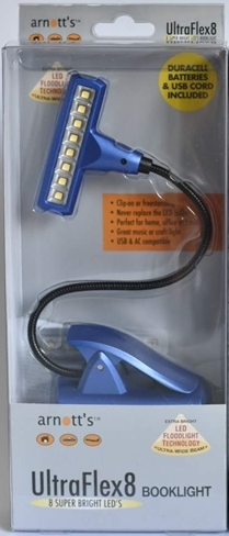 Image for Blue UltraFlex8 Booklight 8 Super Bright LED's (Duracell Batteries and USB cord included)