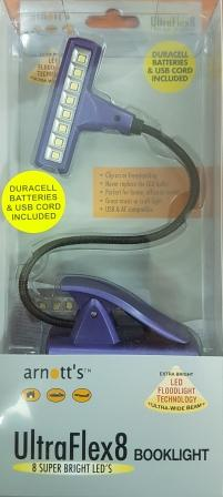 Image for Purple UltraFlex8 Booklight 8 Super Bright LED's (Duracell Batteries and USB cord included)