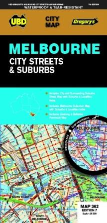 Image for Melbourne City Streets and Suburbs Map : City Map 362 Edition 7 (waterproof)
