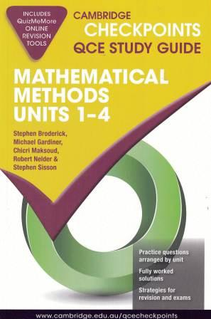 Image for Cambridge Checkpoints QCE Study Guide : Mathematical Methods Units 1-4