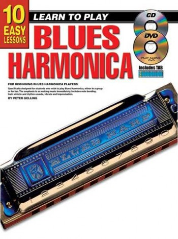 Image for 10 Easy Lessons Learn To Play Blues Harmonica Book/CD/DVD For Beginning Blues Harmonica Players