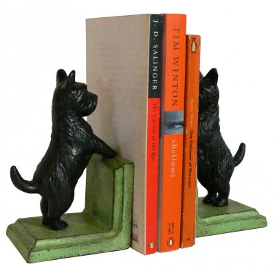 Image for Hand Painted Cast Iron Scotty Dog Bookends - Green Base