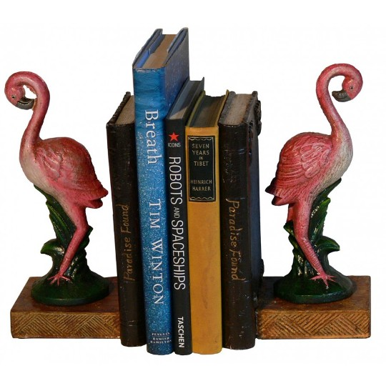 Image for Hand Painted Cast Iron Flamingo Tree Bookends *** Temporarily Out of Stock ***