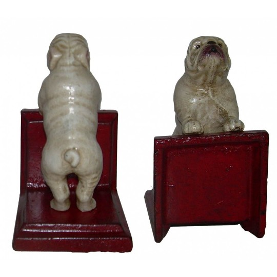 Image for Hand Painted Cast Iron British Bulldog Bookends - Red Base