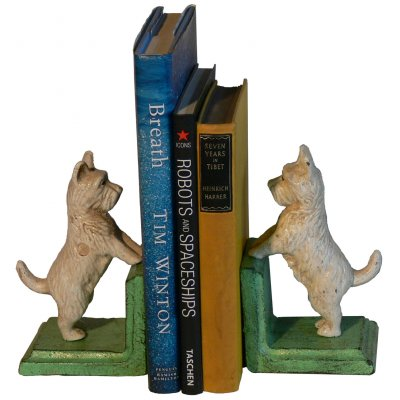 Image for Hand Painted Cast Iron Westie Dog Bookends - Green Base