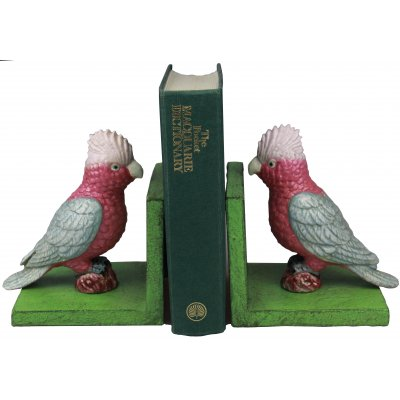 Image for Hand Painted Cast Iron Galah Bird Bookends - Green Base
