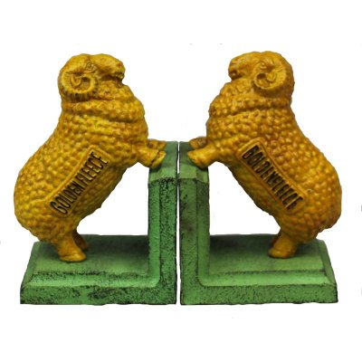 Image for Hand Painted Cast Iron Golden Fleece Sheep Bookends - Green Base