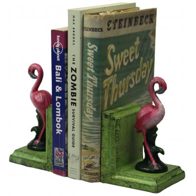 Image for Hand Painted Cast Iron Small Flamingo Bookends - Green Base