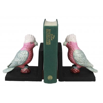Image for Hand Painted Cast Iron Galah Bird Bookends - Black Base *** Temporarily Out of Stock ***