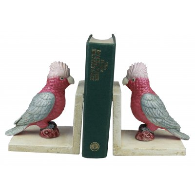 Image for Hand Painted Cast Iron Galah Bird Bookends - White Base