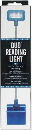 Image for Duo Reading Light Booklight - Blue - 2LEDs Flexible Arm and Secure Clip
