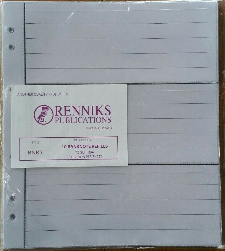 Image for Renniks Banknote Album Refills BNR3 (10 Sheet Pack, 3 Pockets per Sheet)