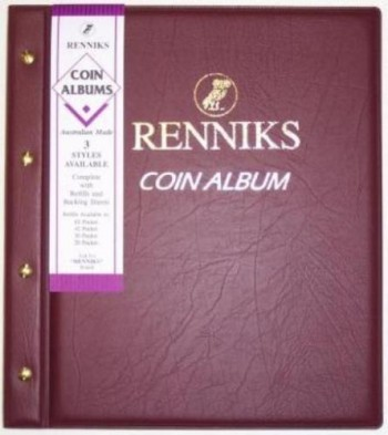 Image for Renniks Coin Album - Red padded leatherette cover - including 6 coin album pages